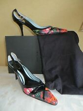 GENUINE PAUL SMITH BLACK PATENT/ FLOWER PRINT LEATHER SHOES  39/UK 6 WORN ONCE