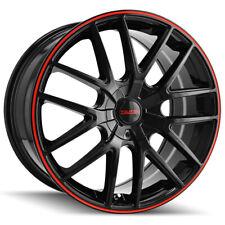"""4-Touren TR60 16x7 5x112/5x120 +42mm Black/Red Wheels Rims 16"""" Inch"""