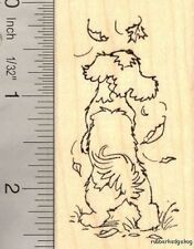 Shih Tzu with Autumn Leaves Rubber Stamp  H14810 WM