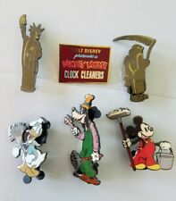 DISNEY MICKEY MOUSE CLOCK CLEANERS 6 PIN SET LE 1000 DONALD,GOOFY,MICKEY