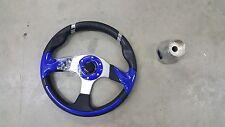 E Z Go Golf Cart Part Steering Wheel Combo  Adapter Blue RXV, TXT