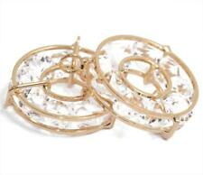 2 Gold Plated Crystal Rhinestone Circle Hoop Pendant Charms Necklace Jewelry