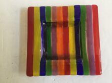 Glass Multi Color Rainbow Pride Dish  Ashtray