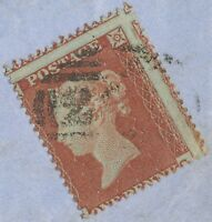 GB 1854 QV 1D red-brown perforated 16 single postage VF cover MISPERFORATED