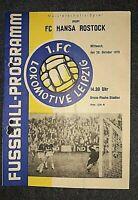Programm 28.10.1970 1.FC Lok Leipzig FC Hansa Rostock DDR Oberliga Fussball FCH