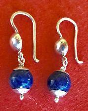 STERLING SILVER 925 NATURAL BLUE LAPIS BALLS  PIERCE HOOK DANGLE SMALL EARRINGS