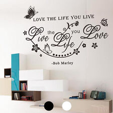 """Love the life you live"" Quote Word Art Vinyl Wall Sticker Decal Home Room Decor"