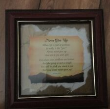 "Stand Up Wood Framed Saying ""Never Give Up"" 6""x6"""