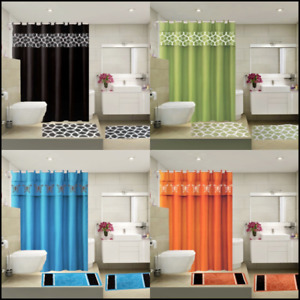 COMPLETE BATHROOM SET 2 BATH MATS 1 SHOWER CURTAIN &FABRIC HOOKS PRINTED DESIGNS