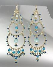 EXQUISITE Urban Artisanal Blue Crystal Beads Gold Chandelier Dangle Earrings