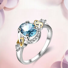 Fashion Silver Rings For Women Elegant Wedding Engagement Sapphire Ring Jewelry