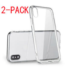 For iPhone X (2pcs) Case Crystal Clear Bumper Silicone Gel iPhone 10 Soft Cover