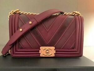 Chanel Medium Boy Bag - Chevron Quilted -  Bordeaux  Gold Chain - Authentic