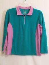 L.L. Bean Girls Size L (14-16) Soft Quarter Zip Fleece Shirt, Top