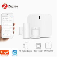 Zigbee Smart Home Alarm Kit Home Automation Hub Door Sensor PIR Motion w/ Alexa