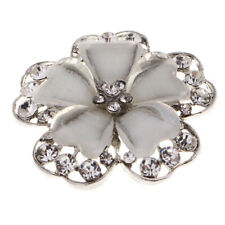 White Flower Metal Rhinestone Shank Buttons for Wedding Dress Clothes Decor