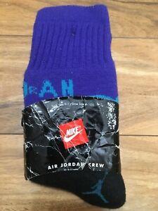 New Rare 1996 Vintage NIKE JORDAN Crew Socks Spellout 9-11 Black Purple Aqua 90s