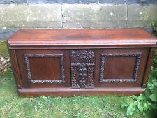 Carved Pugin Gothic Oak victorian church cabinet furniture coffer mule chest 1