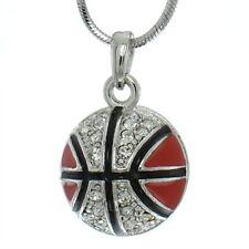 "Nba Red Pendant Necklace 18"" Chain W Swarovski Crystal Basketball 3D Ball"
