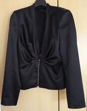 Satin Kostüm schwarz Gr.36 GLÖÖCKLER Ziersteine Brillanten Rock Jacke  NP180€