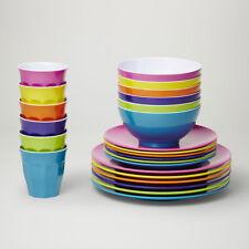 Barel Designs Classic Melamine 48 Piece Fiesta Dinner Set - Cups, Bowls, Plates