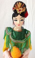 "Vintage Oriental Asian Geisha Cloth Doll with Pear Wood Base Ornate Costume 15"""