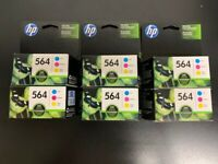 Lot of 6 Genuine New HP 564 C/M/Y Color Ink Cartridges Combo 3/PK Exp: 2017/2018