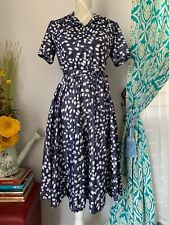 Vintage Ladies Pinup Chic Floral Dress Blue Small Medium 60s 70s
