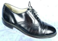 Bostonian Impression Black Leather Cap Toe Semi Brogue Lace Up US Mens 8.5 EEE
