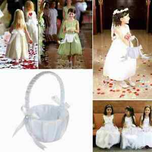 Flower Romantic Bowknots Wedding Ceremony Party Rose Flower Girl Baskets O5T2