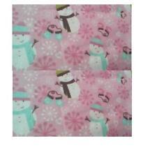 "Pink Flannel Fabric Snowman Print 18"" x 30"" Pajamas kids clothes Jacket quilt"