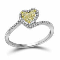 10K White Gold Yellow Diamond Heart Ring Canary & White Diamond Halo Band .25ct