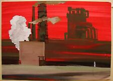 Russian Ukrainian Soviet gouache realism red industrial painting plant