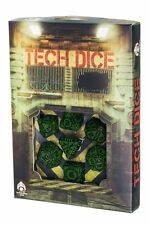 Q-Workshop Tech Dice Set (7 Polyhedral) Green & Black STEC15