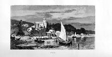 Stampa antica FEZZANO di PORTO VENERE La Spezia Liguria 1877 Old print