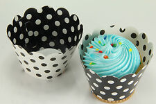 24x Reversible Cupcake Wrappers Wrap Liners, Black White Polka Dot