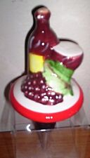 """X LARGE 3"""" CERAMIC WINE AND GRAPE THEMED WINE STOPPER"""