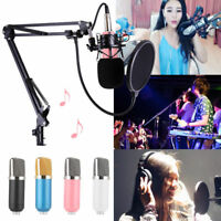 Studio Record Broadcasting Condenser Microphone+Shock Mount+Arm Stand+Filter
