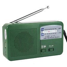 Portable FM/AM Radio Solar Dynamo Generator Crank Power Flashlight Charger ES