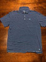 PETER MILLAR Men's Seaside Wash Polo Shirt sz L Large White/Blue Striped