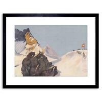 Painting Landscape Alpine Cardinaux Jungfrau Ridge Framed Print 9x7 Inch