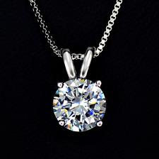 Ladies Girls Solitaire Love Pendant Necklace Cubic Zirconia Silver Colour
