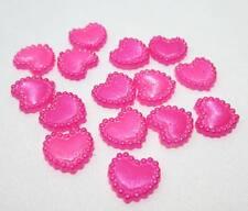 Hot Pink 50pcs nice 10mm Half  Pearl heart Bead Flat Back Scrapbook /Beads DIY