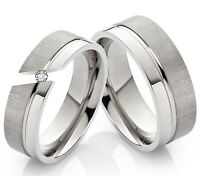 Partnerringe Eheringe Verlobungsringe aus Titan mit Zirkonia Ringgravur TD107
