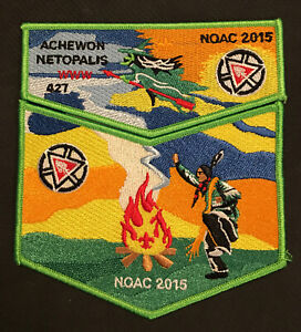 Boy Scout BSA Patch NOAC 2015 OA Achewon Lodge 427 Order of the Arrow Flap Set