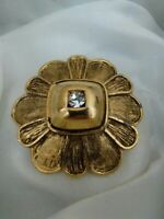 Vintage Signed Sparkly Rhinestone Gold Tone Flower Costume Brooch Pin