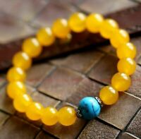 8MM Turquoise yellow jade bracelet Spirituality Tibet silver Sutra cuff Buddhism
