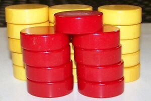 """Bakelite Backgammon Checkers, Red & Yellow, 1 1/2 """" by 1/2"""". Nice and Thick."""