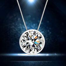 Damen Silber Plated Kleinem Runden klaren Cubic Zirkonia Anhänger Für Halskette