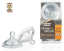 Tommee Tippee Closer to Nature Fast Flow Nipples, 2 pack, BPA Free